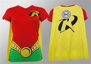 Authentic DC COMICS Robin Costume Cape Girl Juniors V-Neck ...