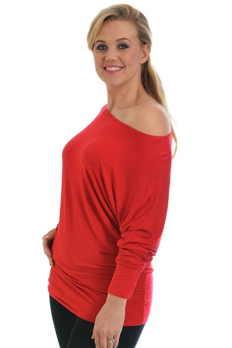 New Ladies Plus Size Top Womens Batwing Slouch Boat Neck ...