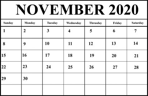 printable november  calendar  excel word