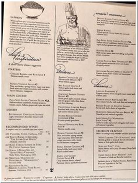 Your question will be posted. Carnival Cruise 7 day MDR Dinner Menus, Food Pictures | Carnival Pride Cruise to Western ...