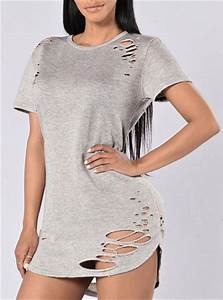 Light Purple Maxi Dress With Sleeves Women 39 S Distressed Tunic Top With Short Sleeves Light Gray