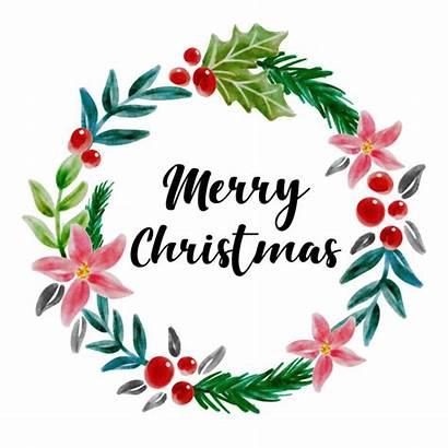 Merry Christmas Watercolor Floral Wreath Vector Premium