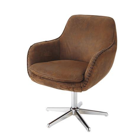 maison du monde chaise de bureau fauteuil de bureau en microsuède marron maisons