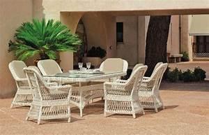 Salon De Jardin Blanc : salon de jardin table h v a dubay r sine tress e blanc ivoire 6 places ~ Teatrodelosmanantiales.com Idées de Décoration