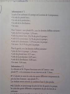 Essence Sans Plomb 95 : probleme de math 3 eme calculer en euro le co t des 4 diff rent composants du prix du litre d ~ Medecine-chirurgie-esthetiques.com Avis de Voitures
