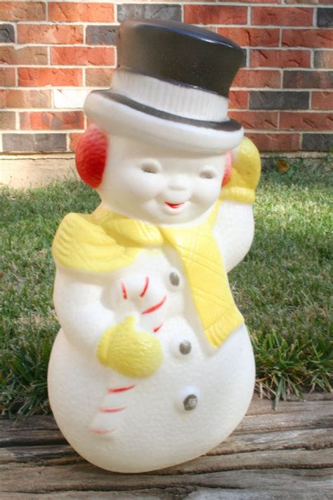 vintage plastic snowman blow mold light  holiday lawn
