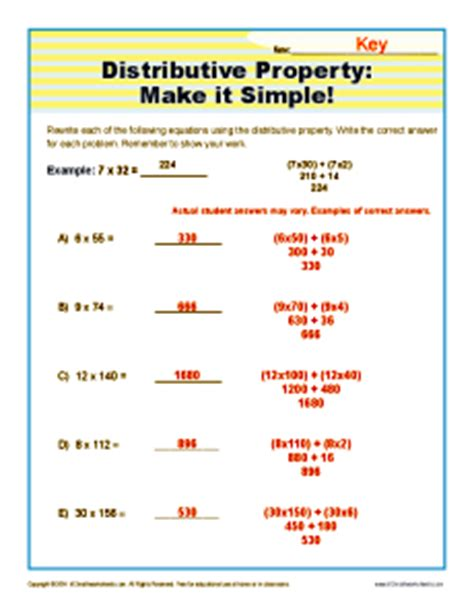 Distributive Property Make It Simple  3rd Grade Math Worksheets