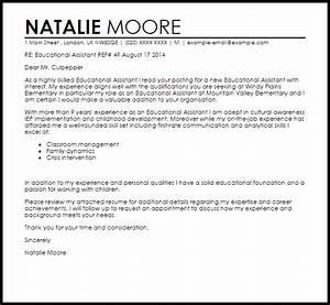 educational assistant cover letter sample livecareer With educational assistant cover letter examples