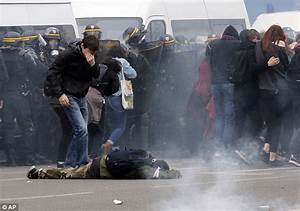 Paris riot police use tear gas to repel student protesters ...