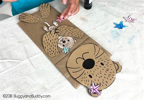 sea otter paper bag puppet craft   template