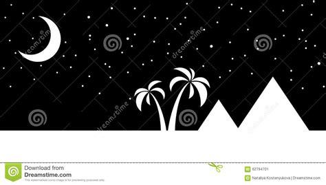 Egypt Night Landscape Cartoon Vector