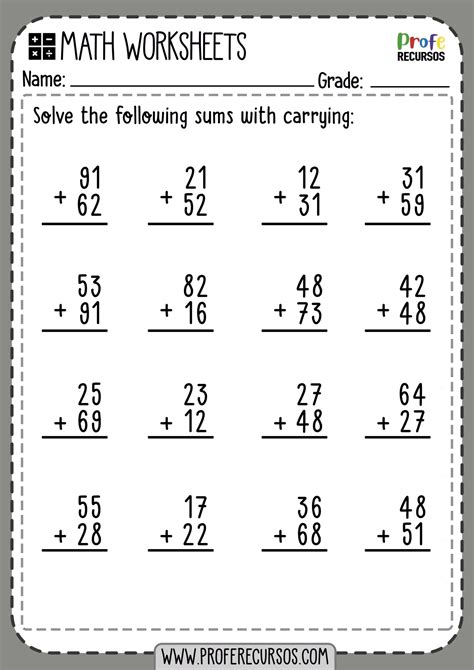 addition  carry  worksheets  grade