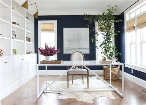 Office with Navy Blue Walls   Transitional   Den/library
