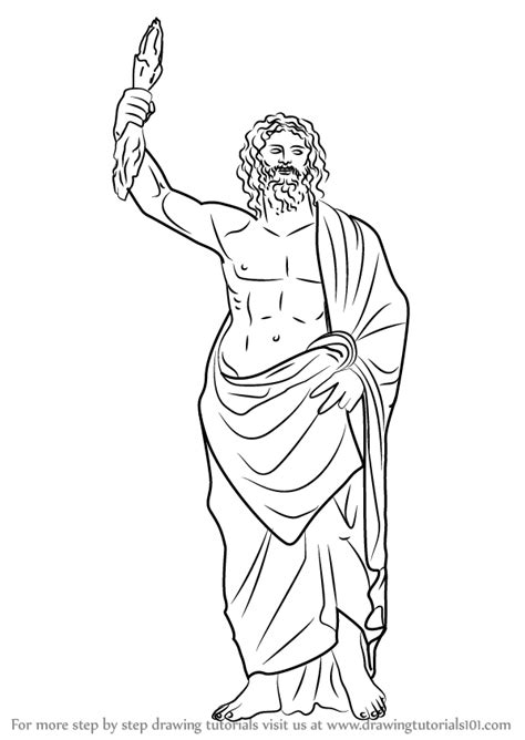 Step by Step How to Draw Zeus : DrawingTutorials101.com