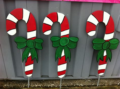 christmas candy cane  pc holiday wooden yard art