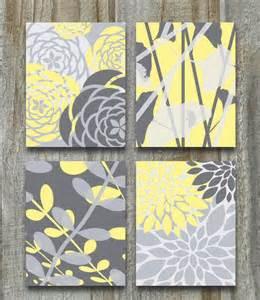 home interior prints yellow gray print set modern vintage floral nature prints 8x10 set of 4 grey bedroom home
