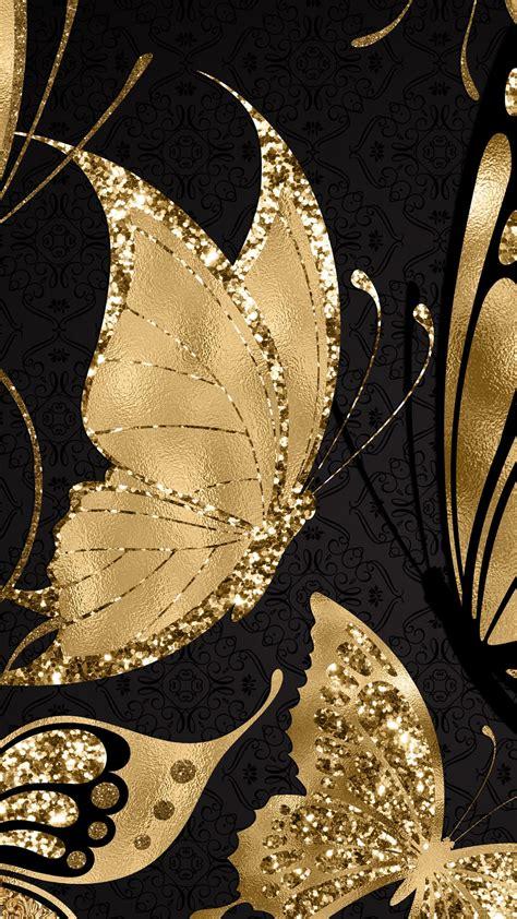 gold butterflies tuval sanati fraktal sanati