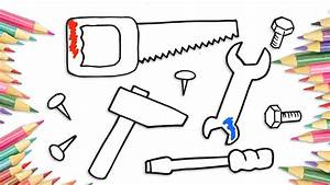 How To Draw Tools Hammer Saw Spanner Screwdriver Drawing