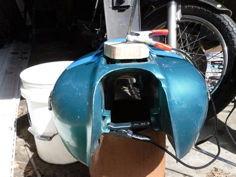 Electrolytic Rust Removal From A Motorcycle Gas Tank