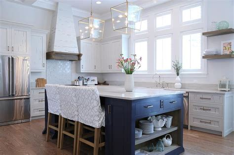blue kitchen island navy blue kitchen island with open shelves cottage kitchen