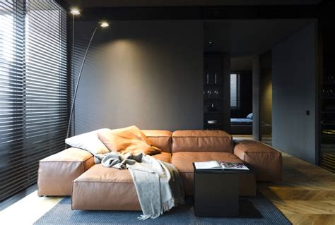 small masculine apartment  dark color schemes interiorzine