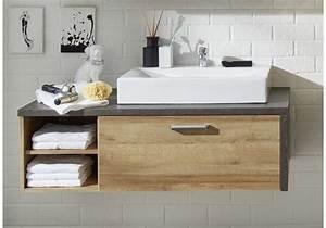 Waschbeckenunterschrank Mit Aufsatzwaschbecken : waschbeckenunterschrank eiche riviera honig beton woody 93 01137 woody m bel ~ Indierocktalk.com Haus und Dekorationen