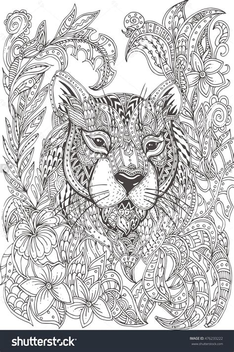 hand drawn tiger with ethnic floral doodle pattern
