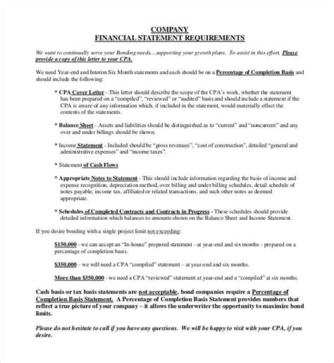 financial statement templates