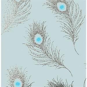 56.4 sq. ft. Squawk Blue Glitter Peacock Wallpaper