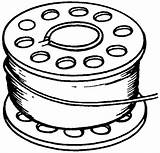 Thread Drawing Spool Needle Bobbin Clipart Sketch Template Coloring sketch template