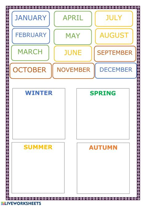 Months and seasons - Interactive worksheet