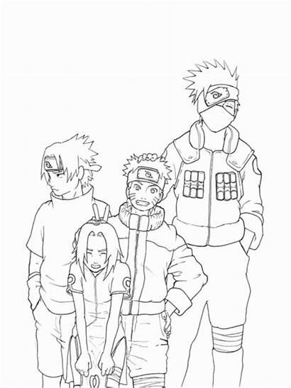 Naruto Coloring Kakashi Sasuke Printable Sakura Ekipa