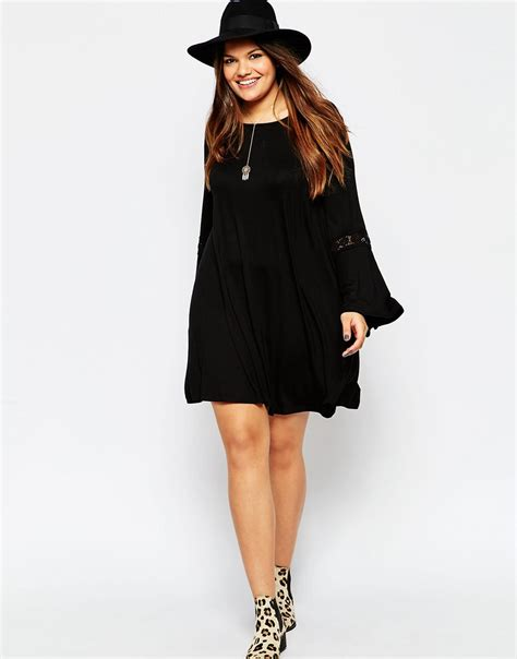asos curve swing dress lyst asos bell sleeve swing dress with lace insert