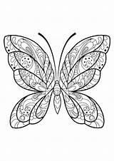 Butterfly Coloring Pages Butterflies Patterns Adult Adults Printable Insects Pattern Print Insect Sheets Books Mandala Coloriage Printables Children Background Animals sketch template