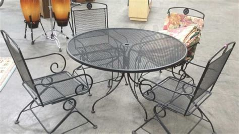 5pc sunbeam wrought iron patio table chairs