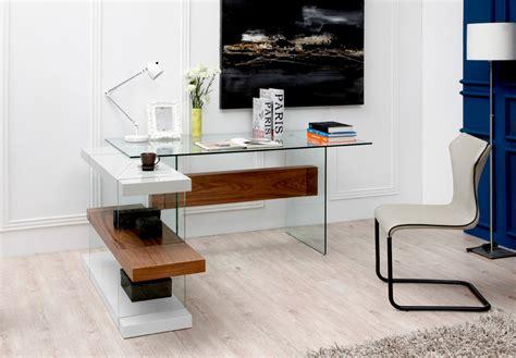 Modrest Sven Contemporary White Walnut Desk Shelves