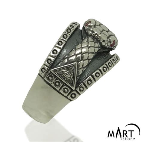 ouroboros snake ring all seeing eye pyramid ring silver and gold masonartstore