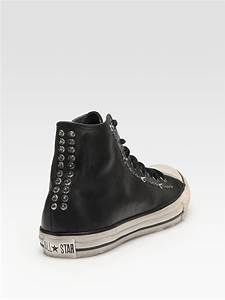 lyst converse varvatos studded leather high tops in