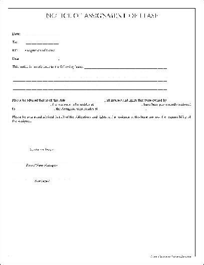 free assignment of lease form free simple notice of assignment of lease from formville