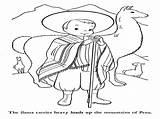 Peru Coloring Pages Printable Peruvian Getcolorings sketch template