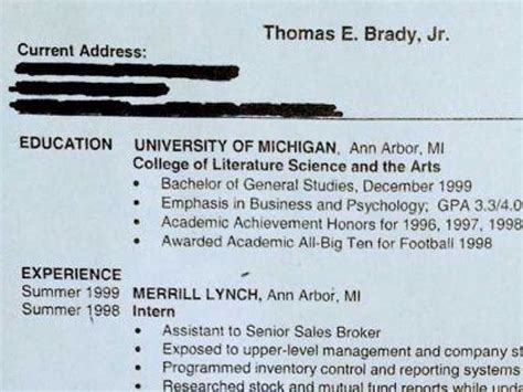 Tom Brady Resume Tfm by Here S Tom Brady S R 233 Sum 233 From When He Didn T Think He D