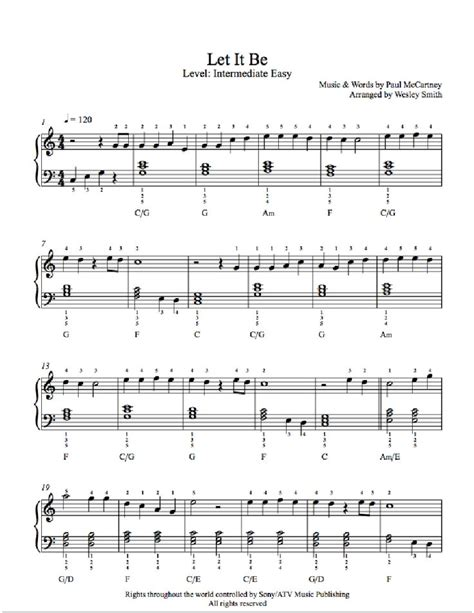 let it be by the beatles piano sheet intermediate level playground intermediate sheet