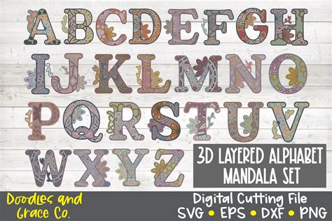 Layered mandala from crafthouse svg. 3D Layered Alphabet Mandala Bundle - SVG - PNG - EPS - DXF ...