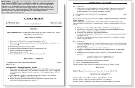 Overqualified Cover Letter Sle by Sle Resume For An Overqualified Worker Dummies