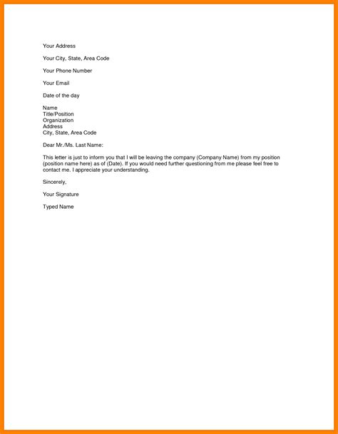 Resignation Letter Exles by 6 Simple Resignation Letter Sle For Personal Reasons