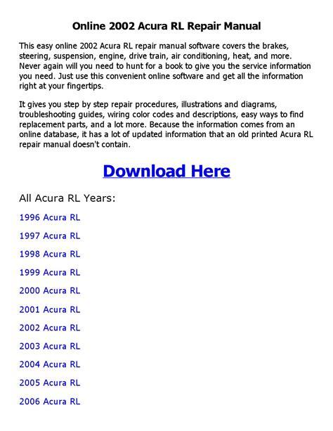 manual repair free 2000 acura rl free book repair manuals 2002 acura rl repair manual online by mary issuu