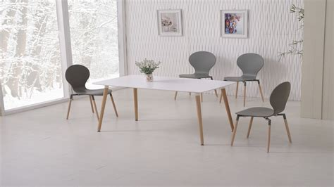 Amazon com roundhill furniture karven 7 piece solid wood dining. White Dining Table and 6 Grey Chairs - Homegenies