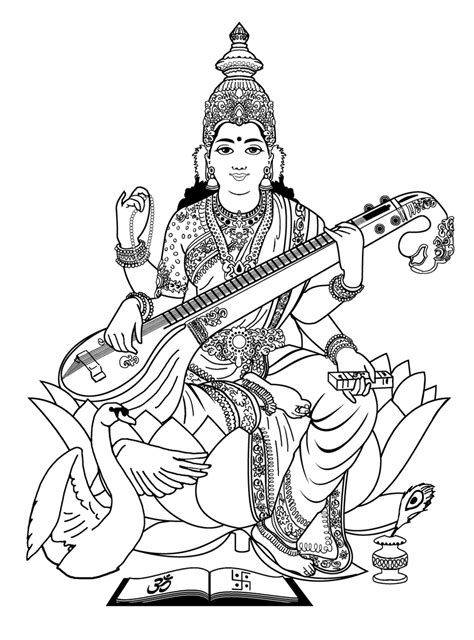 coloring-adult-india-saraswati-3, From the gallery : India