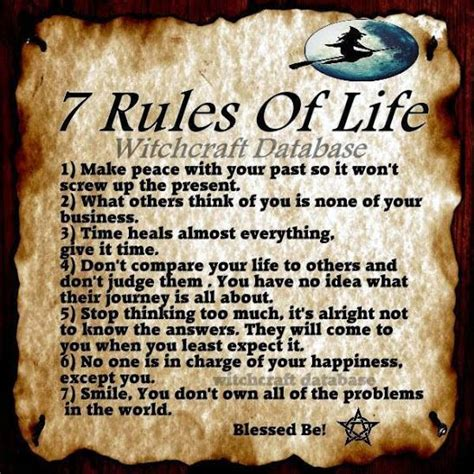 Seven Rules Of Life  Witchcraft Database  Witches Of The