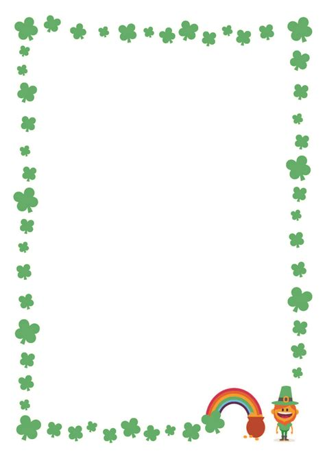 st patricks day printable writing paper  clover